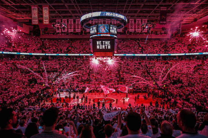 """TORONTO, ON- APRIL 19  -  """"We The North"""" before the game between the Toronto Raptors and the Brooklyn Nets during the first play off game between the Toronto Raptors and the Brooklyn Nets at the Air Canada Centre April 19, 2014.  David Cooper/Toronto Star"""